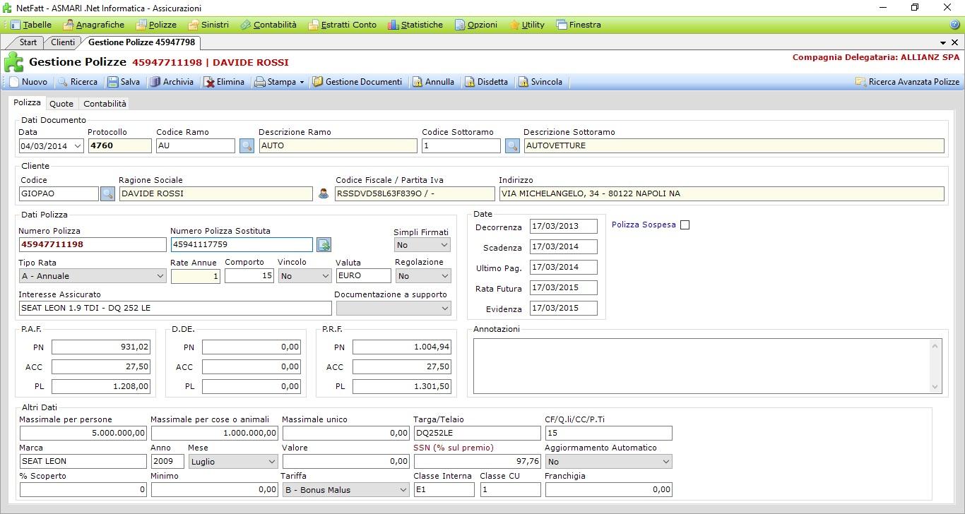 NetFatt Assicurazione - Software per Brokeraggio Assicurativo